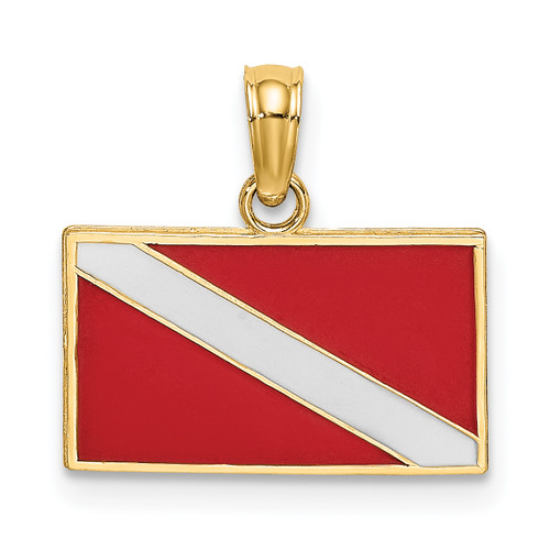 14KT Gold Dive Flag With Red & White Enamel Charm