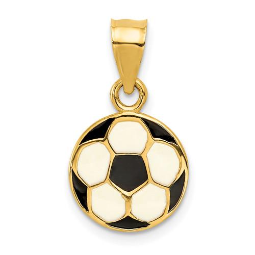 14KT Gold Enameled Soccer Ball Pendant