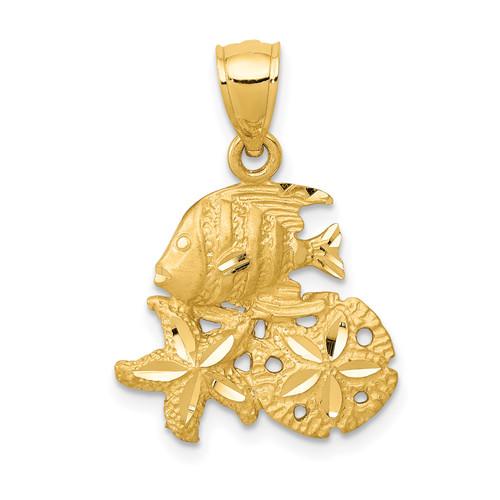 14KT Gold Gold Satin Diamond-cut Fish, Starfish and Sand Dollar Pendant