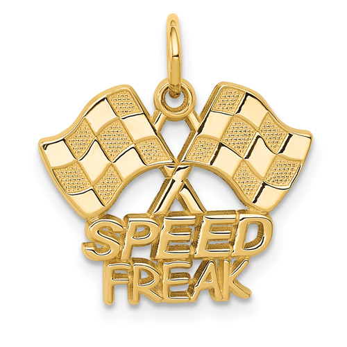14KT Gold Gold Racing Flags SPEED FREAK Charm
