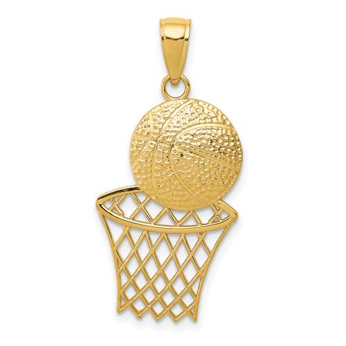 14KT Gold Diamond-Cut Basketball and Net Charm