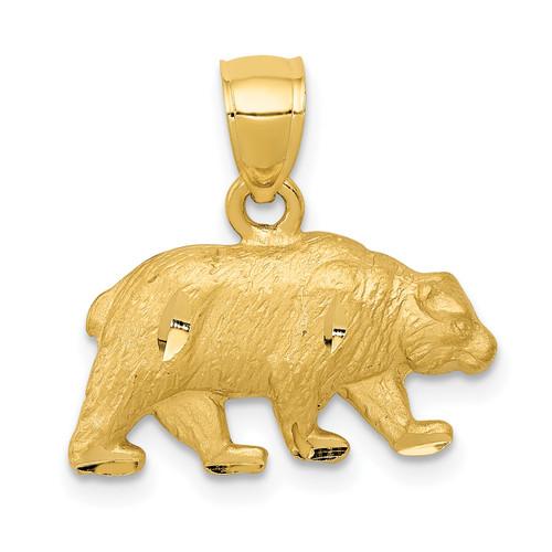 14KT Gold Diamond-cut Bear Pendant