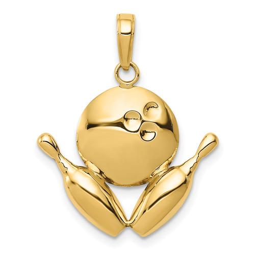 14KT Gold Gold Diamond-Cut Bowling Theme Charm