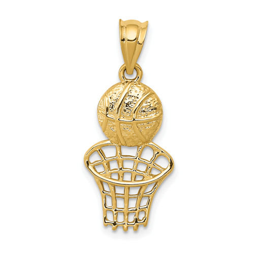 14KT Gold Basketball and Net Charm