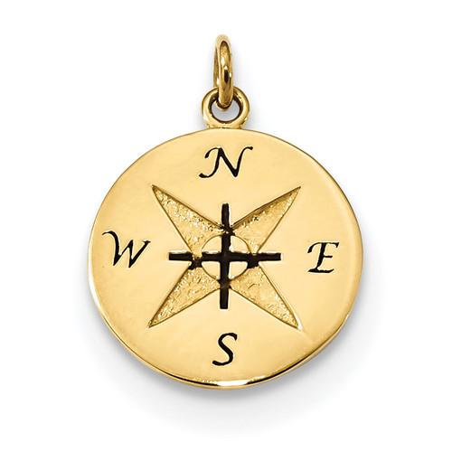 14KT Gold Antiqued Compass Pendant