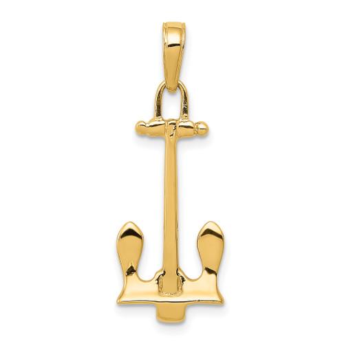 14KT Gold  3D Navy Anchor Pendant