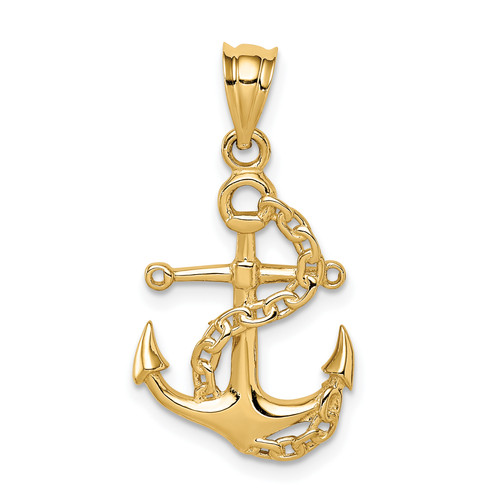 14KT Gold Gold Polished Anchor & Chain Pendant