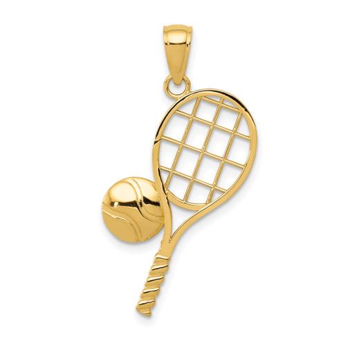 14KT Gold Diamond-Cut Tennis Racquet Charm