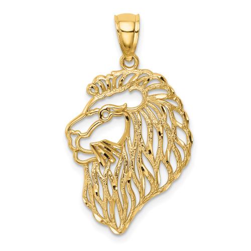 14KT Gold Diamond-Cut Lion Profile Pendant