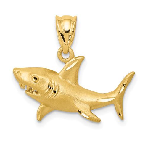 14KT Gold Gold Satin Diamond-Cut Shark Pendant