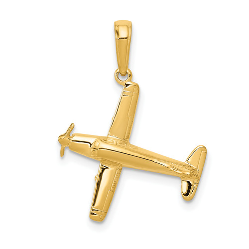 14KT Gold Gold 3-D Low-Wing Airplane Pendant