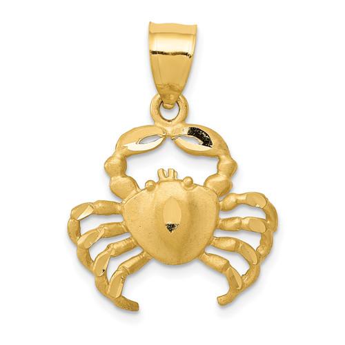 14KT Gold Gold Satin Diamond-cut Crab Pendant