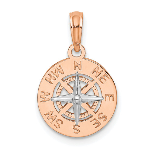 14KT Gold Gold Rose and White Gold Mini Nautical Compass Pendant