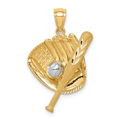 14KT Gold D/C White Rhodium Baseball Bat Glove Ball Pendant