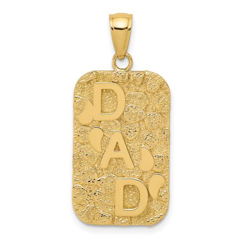 14KT Gold DAD Gold Nugget Dog Tag Pendant