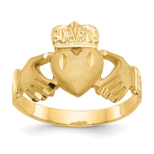 14KT Gold Gold Diamond-cut Claddagh Ring