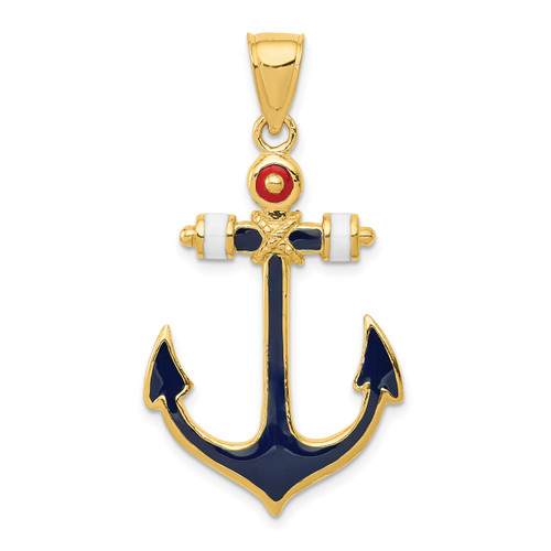 14KT Gold 2-D Red, White, and Blue Enameled Anchor Pendant