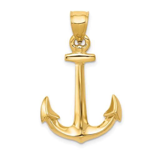14KT Gold 3-D Anchor Pendant