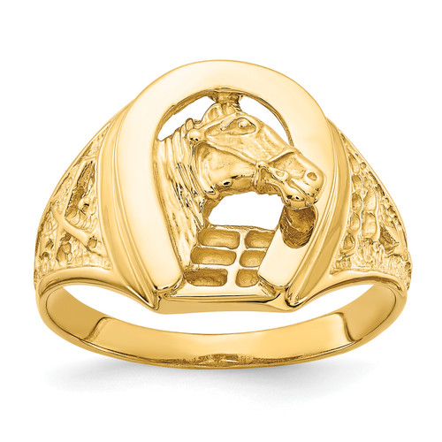 14KT Gold Gold Polished Horseshoe with Horse in Center Ring