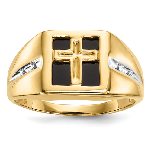 14KT Gold Gold Onyx and Diamond Cross Mens Ring
