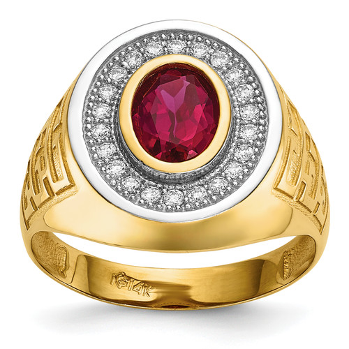 14KT Gold Gold With  Rhodium CZ & Oval Red CZ Mens Ring