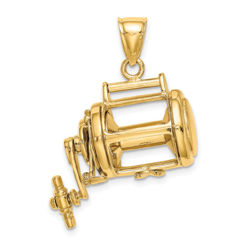 14KT Gold Gold With Rhodium Moveable 3-D Fishing Reel Charm