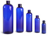 Clearance Empty Blue PET Plastic Bottles. Cosmo Round (Screw Caps Included)
