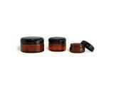 Amber PET Jar with Black Lid