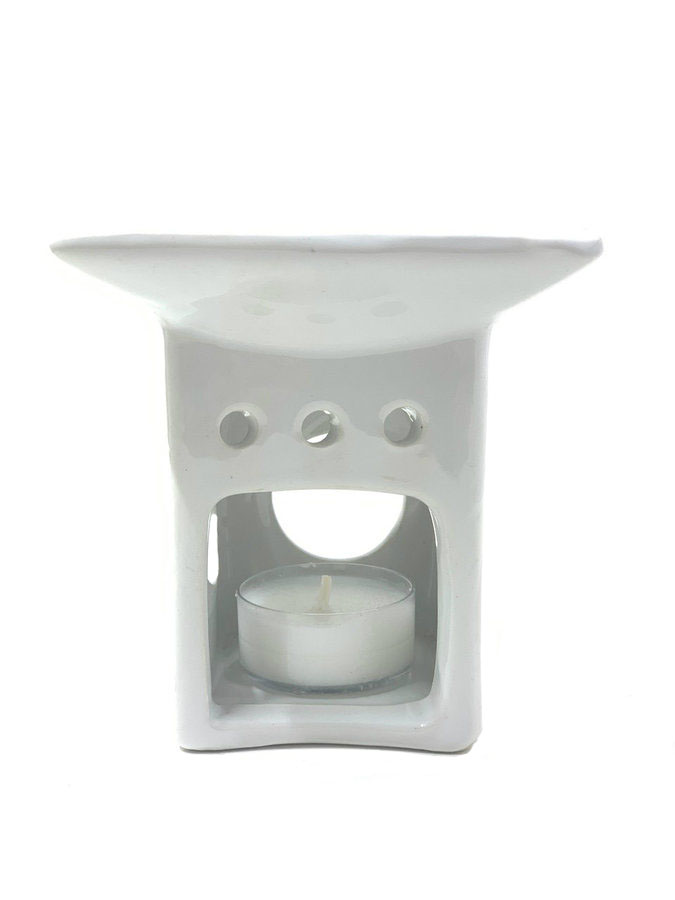 Square White Ceramic Oil Warmer
