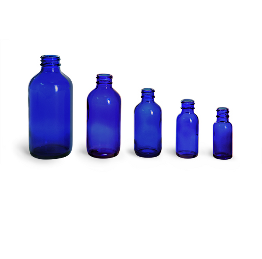 Blue Glass Bottles. Caps NOT included.