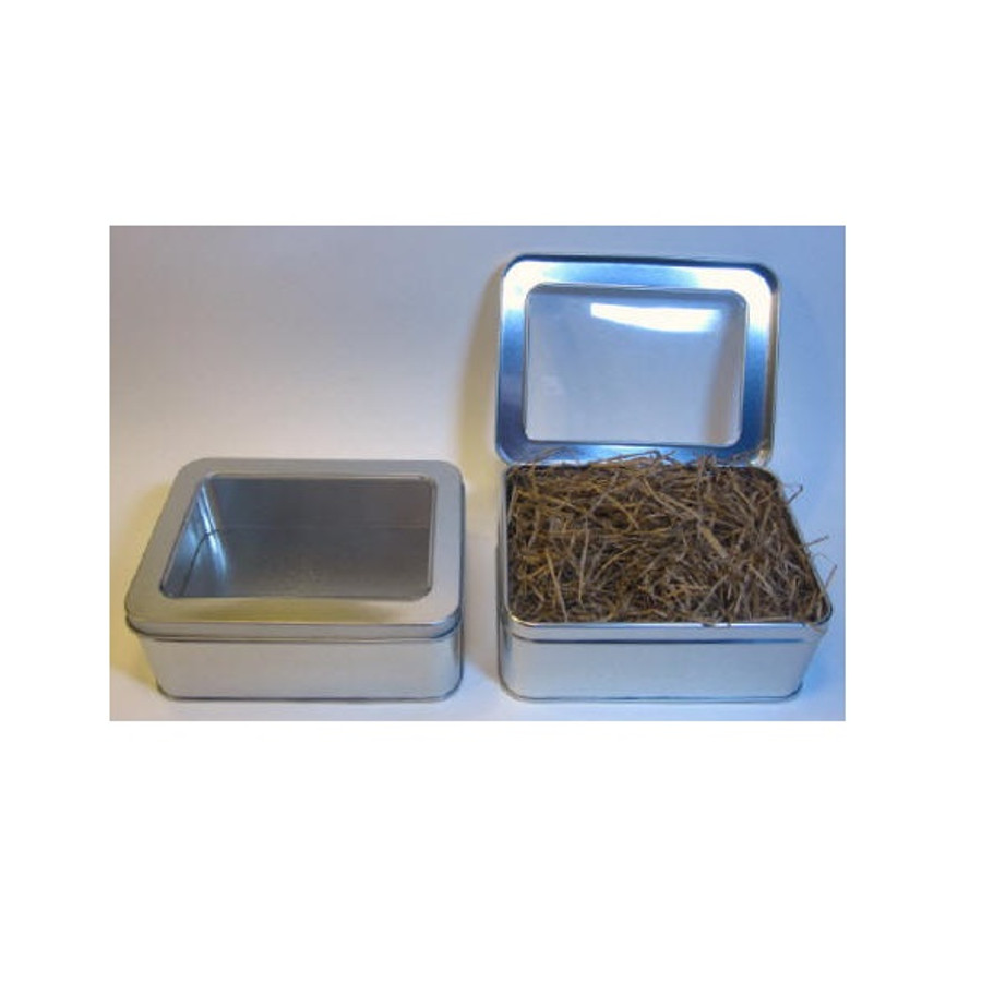 Metal Tin Box with Window Hinge (Natural Paper Stuffing Included)