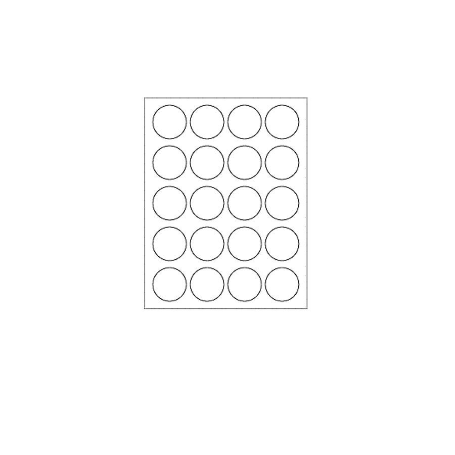 Blank Labels,  Glossy White, Circle Labels, 20 Per Sheet (12 Sheets, 144 Labels)