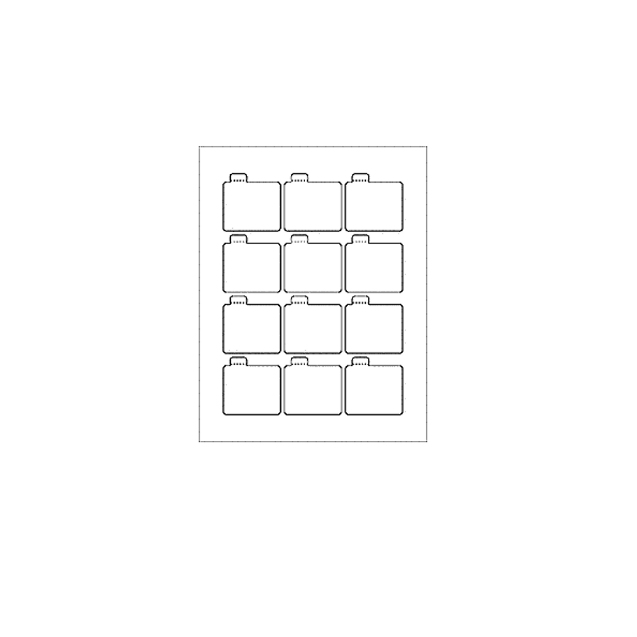 Blank Labels, Glossy White, Tamper Evident Tab Lip Balm Labels, 12 Per Sheet (12 Sheets, 144 Labels)