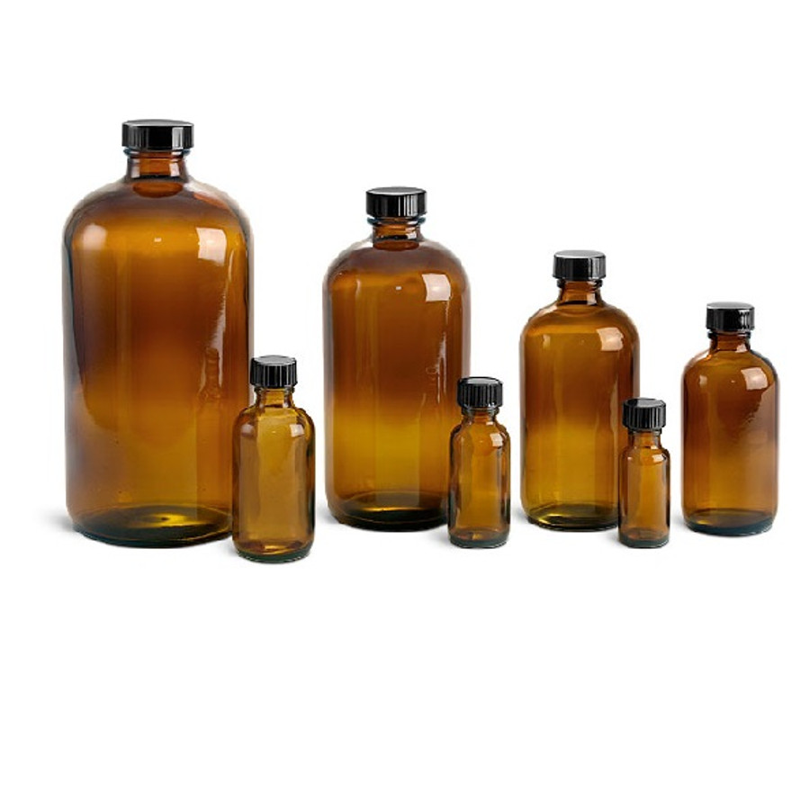 Amber Glass Bottles. Caps NOT included. (CLEARANCE)
