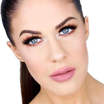@nikkiajoy wearing Mile High liquid lipstick ad Rose Slay All Day Setting Spray.