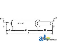 Exhaust Muffler, IH 660 International (C263 Gas)