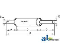 Black Exhaust Muffler, IH - 706 756 826 (Diesel)
