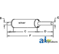 Exhaust Muffler, IH  2424, 2444, 2504, 3414, Farmall 504, I-504, 424, 444, 504 (Gas/Diesel)