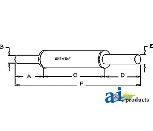 Exhaust Muffler, IH B275 B414 (Diesel)