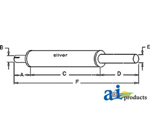 Exhaust Muffler, IH  -  T340, A, B, BN, C, Super A, Super C, 100, 130, 140, 200, 230, 240, 330, 340 (Gas)