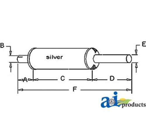 Exhaust Muffler, IH - 544 Farmall (C200 Gas / D239 Diesel)