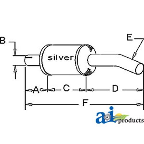 Exhaust Muffler, IH Combine 715 (Gas)
