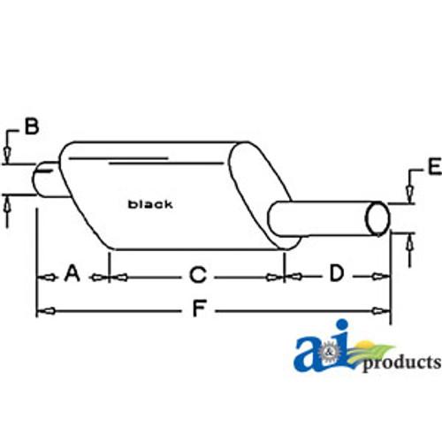 Black Exhaust Muffler, IH  485 585 685 (Diesel)