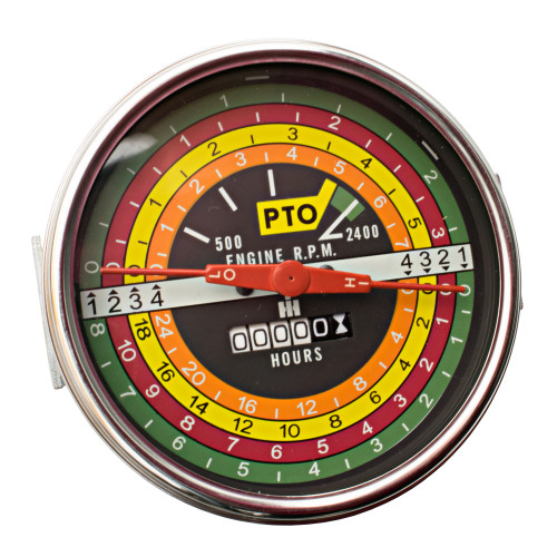 Tachometer , IH 706 806 1206 (Black Face)