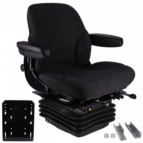 Seat: IH 86 & 88 Series Tractors,  Asphalt Gray Fabric Seat, w/ Air Suspension & Brackets
