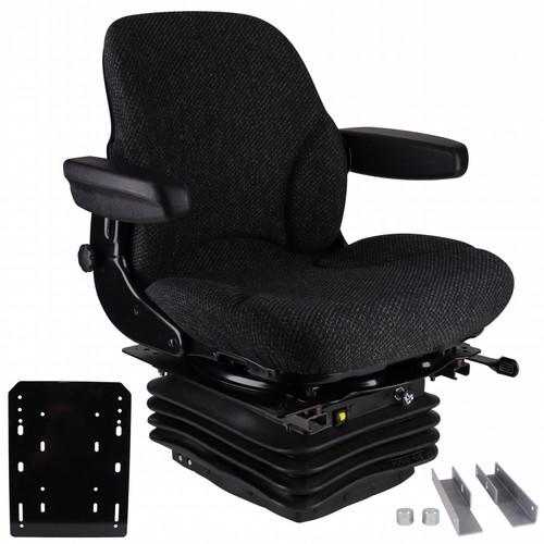 Seat: IH 86 & 88 Series Tractors,  Asphalt Gray Fabric Seat, w/ Air Suspension & Brackets