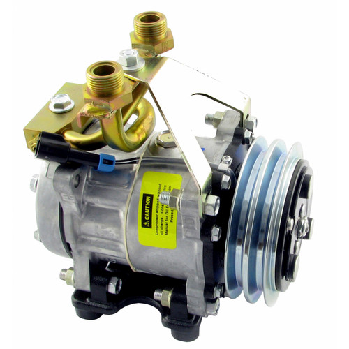 Genuine Sanden/York SD7H15 Compressor, w/ 2 Groove Clutch - New, IH 1066  1466  1468  1566  1568  4166  4186  766  966  Hydro 100