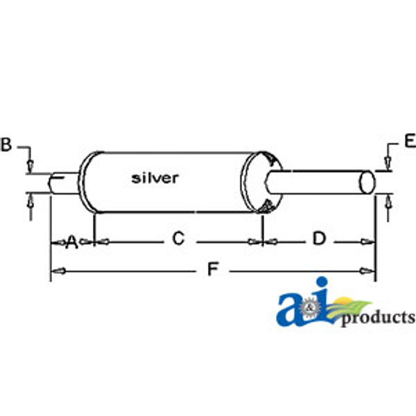 Exhaust Muffler, IH  H, SUPER H, SUPER, W4, W4, 300, 350 FARMALL (Gas)