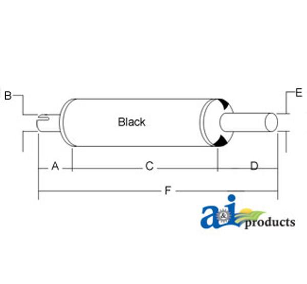 Black Exhaust Muffler, IH  706 756 856 (Gas/LP)