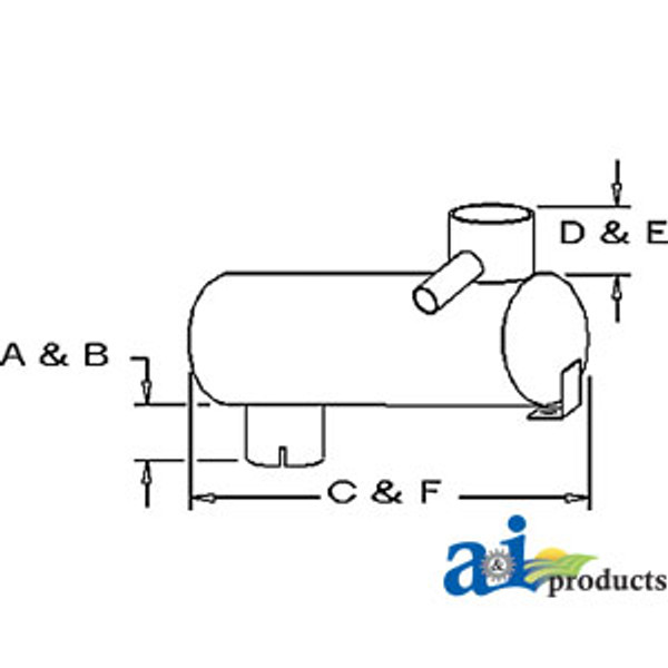 Exhaust Muffler, IH Combine - 1460 1470 1480